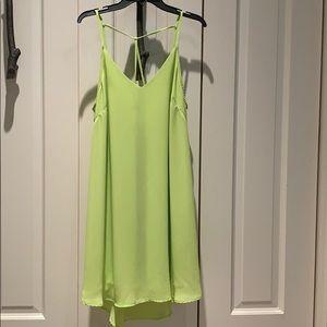 Lime green shift dress